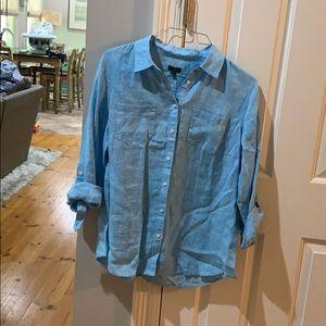 NWT Talbots  Women's Sky Blue Linen Collared Shirt